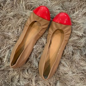 J Crew Tan/Red Ballet Flats